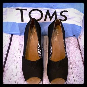 TOMS Black Open Toe Black Espadrilles Wedges